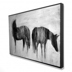 Framed 24 x 36 - 3D - Horses silhouettes in the mist