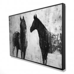 Framed 24 x 36 - 3D - Black and white horses