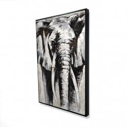 Framed 24 x 36 - 3D - Grayscale elephant