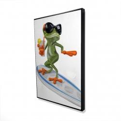 Framed 24 x 36 - 3D - Funny frog surfing