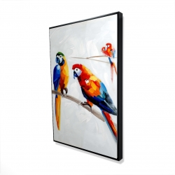 Framed 24 x 36 - 3D - Parrots on a branch