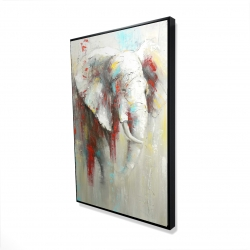 Framed 24 x 36 - 3D - Abstract elephant with paint splash