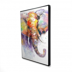 Framed 24 x 36 - 3D - Beautiful and colorful elephant