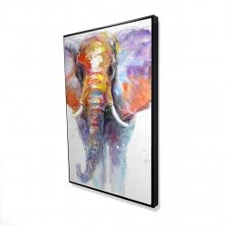 Framed 24 x 36 - 3D - Colorful walking elephant