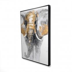 Framed 24 x 36 - 3D - Golden elephant