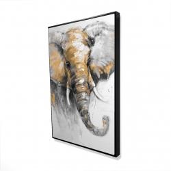 Framed 24 x 36 - 3D - Beautiful golden elephant