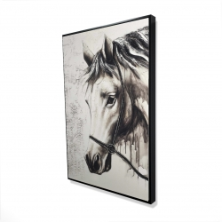 Framed 24 x 36 - 3D - Alpha the white horse