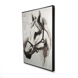 Framed 24 x 36 - 3D - Flicka the white horse