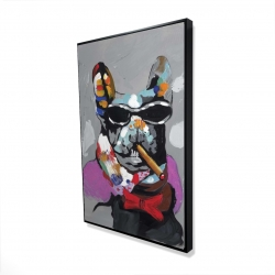 Framed 24 x 36 - 3D - Abstract bulldog with cigar