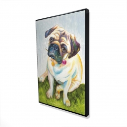 Framed 24 x 36 - 3D - Cute pug with a rose in his mouth