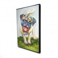 Framed 24 x 36 - 3D - Colorful smiling pug