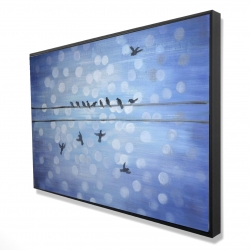 Framed 24 x 36 - 3D - Birds on a wire with a clear blue sky
