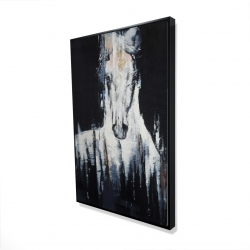 Framed 24 x 36 - 3D - Abstract white horse on black background