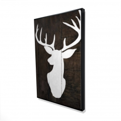 Framed 24 x 36 - 3D - Silhouette of a deer on wood