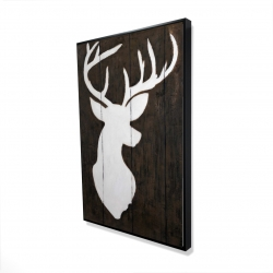 Framed 24 x 36 - 3D - White silhouette of a deer on wood