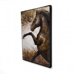Framed 24 x 36 - 3D - Horse rushing into the soil