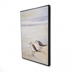 Framed 24 x 36 - 3D - Two sandpipers on the beach