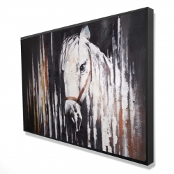 Framed 24 x 36 - 3D - White horse in the dark