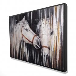 Framed 24 x 36 - 3D - Two white horses kissing