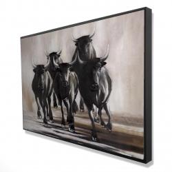 Framed 24 x 36 - 3D - Group of running bulls