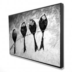 Framed 24 x 36 - 3D - Four birds perched