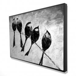 Framed 24 x 36 - 3D - Five birds perched