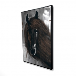 Framed 24 x 36 - 3D - Dark brown horse