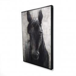 Framed 24 x 36 - 3D - Black horse