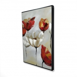 Framed 24 x 36 - 3D - Abstract red and white flowers