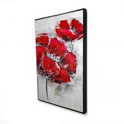 Framed 24 x 36 - 3D - Abstract and texturized red flowers