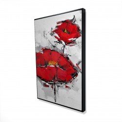 Framed 24 x 36 - 3D - Texturized red poppies