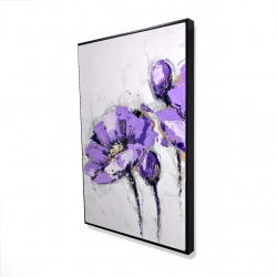 Framed 24 x 36 - 3D - Purple abstract flowers