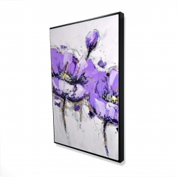 Framed 24 x 36 - 3D - Purple anemone flowers