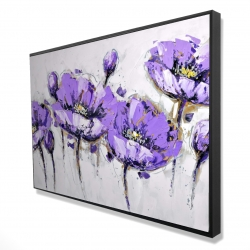 Framed 24 x 36 - 3D - Abstract purple flowers