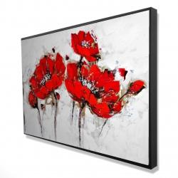 Framed 24 x 36 - 3D - Abstract poppy flowers