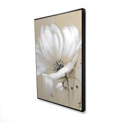 Framed 24 x 36 - 3D - White abstract wild flower