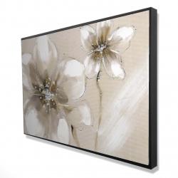 Framed 24 x 36 - 3D - Two cream flowers