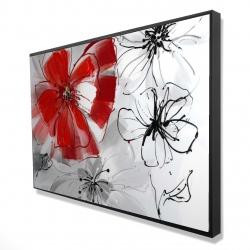 Framed 24 x 36 - 3D - Red & gray flowers