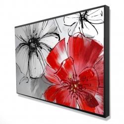 Framed 24 x 36 - 3D - Red & white flowers sketch