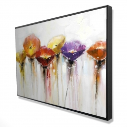 Framed 24 x 36 - 3D - Multiple colorful abstract flowers