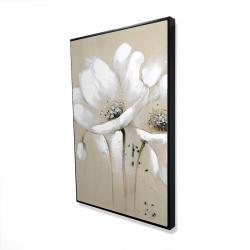 Framed 24 x 36 - 3D - White abstract wild flowers