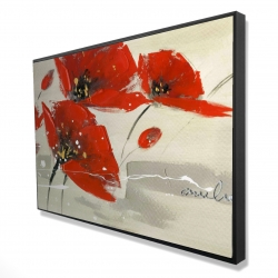 Framed 24 x 36 - 3D - Abstract red flowers in the wind