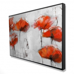 Framed 24 x 36 - 3D - Red flowers
