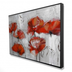 Framed 24 x 36 - 3D - Abstract poppies