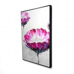Framed 24 x 36 - 3D - Pink wild flowers