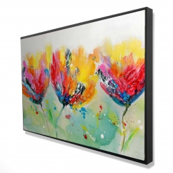 Framed 24 x 36 - 3D - Four colorful flowers