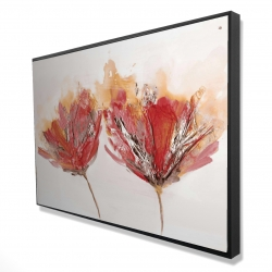 Framed 24 x 36 - 3D - Crimson flowers and butterfly