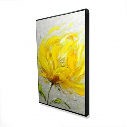 Framed 24 x 36 - 3D - Yellow fluffy flower