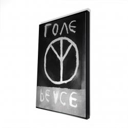 Framed 24 x 36 - 3D - Peace love monochrome