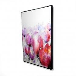 Framed 24 x 36 - 3D - Pink tulips field